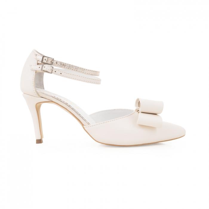 Pantofi stiletto cu funda dubla, din piele naturala alb unt si auriu pal 0