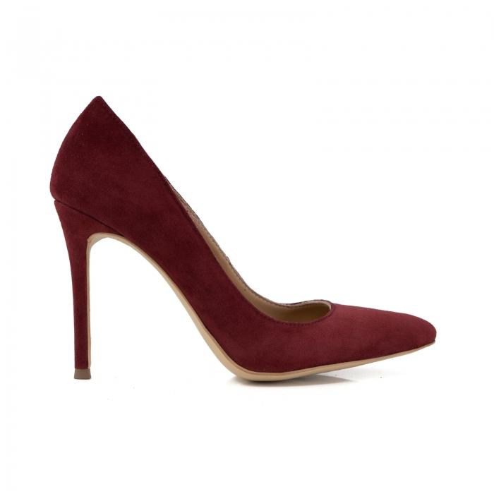 Pantofi Stiletto din piele intoarsa burgundy 0