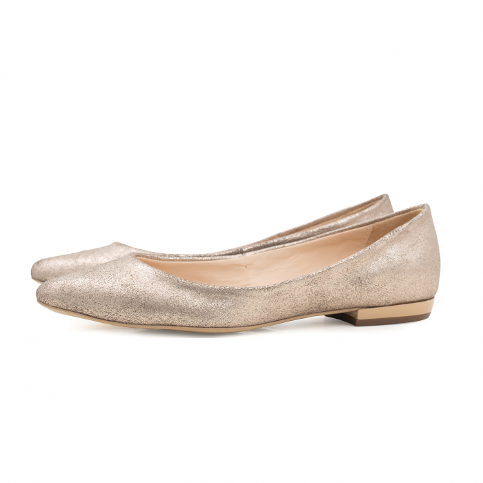 Balerini cu varf ascutit, din piele naturala aurie texturata [1]