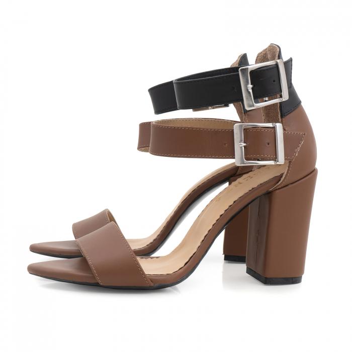 Sandale cu toc gros, din piele naturala maron si neagra 1