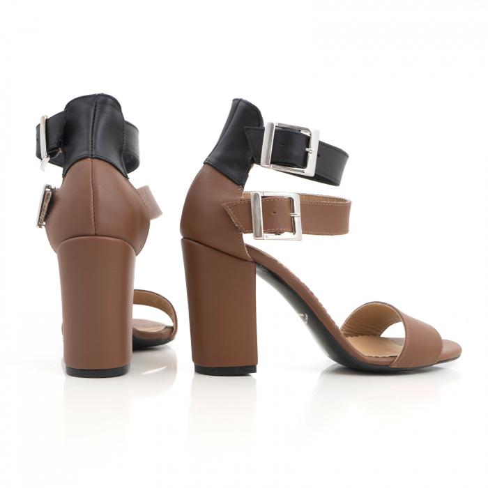 Sandale cu toc gros, din piele naturala maron si neagra 2