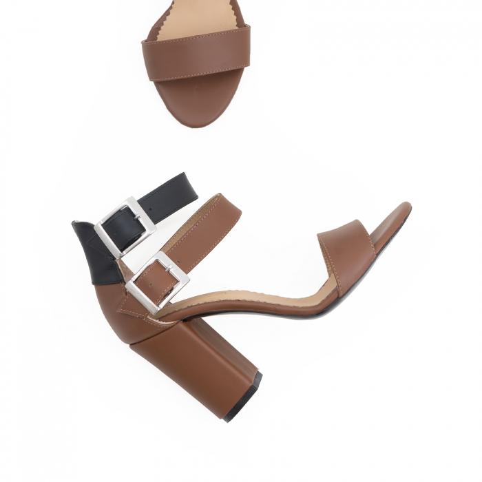 Sandale cu toc gros, din piele naturala maron si neagra 3