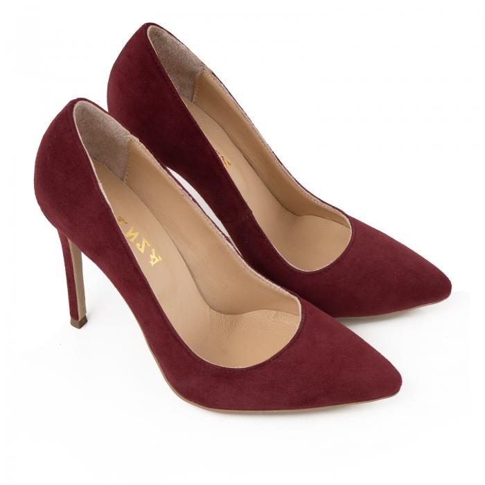 Pantofi Stiletto din piele intoarsa burgundy 1