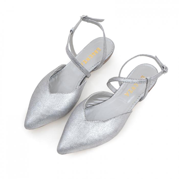 Balerini decupati, cu bareta peste glezna, din piele argintie texturata 1