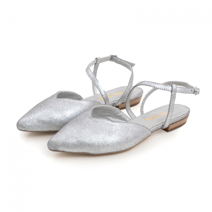 Balerini decupati, cu bareta peste glezna, din piele argintie texturata 2