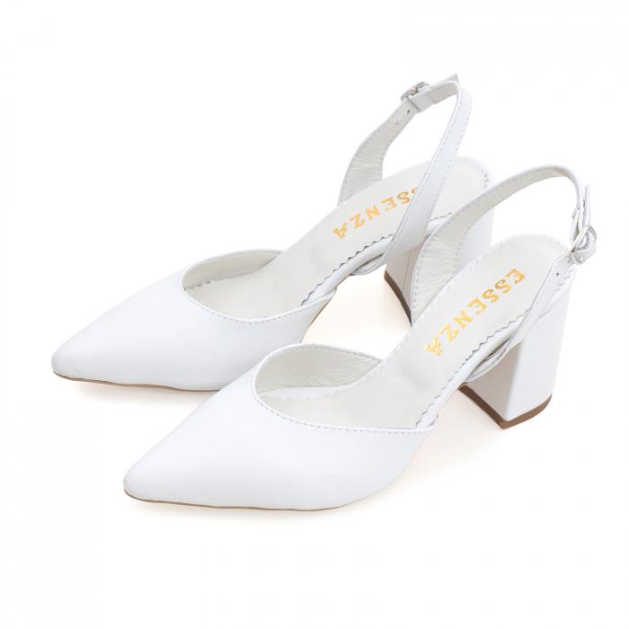 Pantofi cu varf ascutit decupati, cu bareta peste calcai, din piele naturala alba [1]