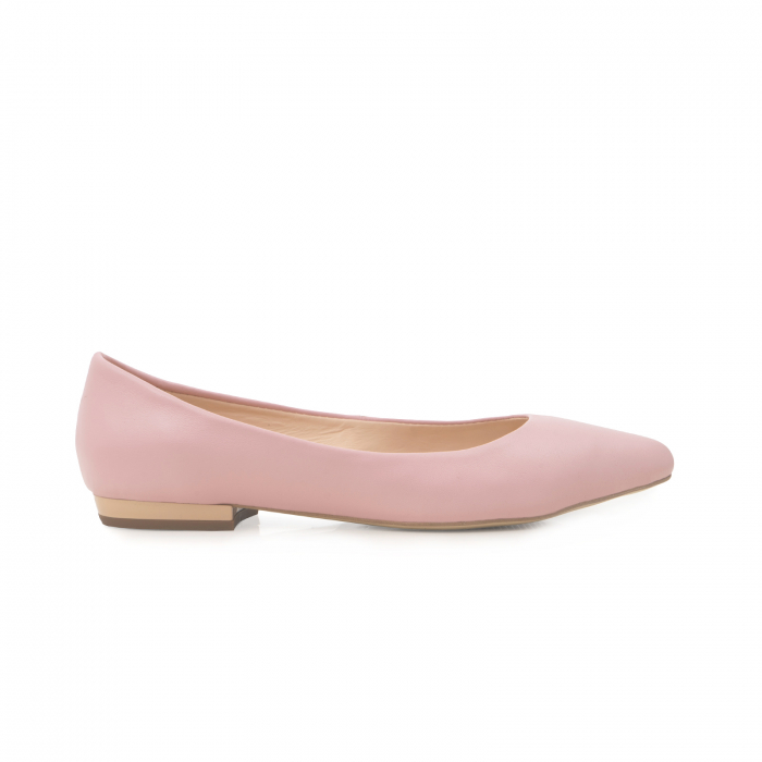 Balerini cu varf ascutit, din piele naturala roz 0