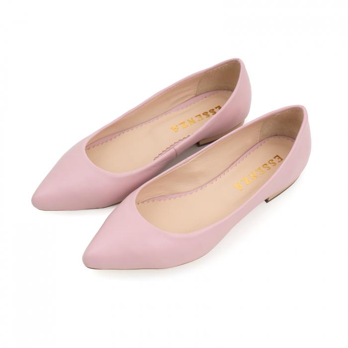 Balerini cu varf ascutit, din piele naturala roz 1