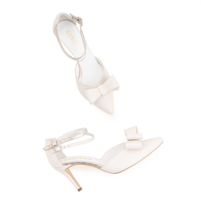 Pantofi stiletto cu funda dubla, din piele naturala alb unt si auriu pal 2