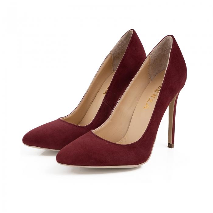 Pantofi Stiletto din piele intoarsa burgundy 2
