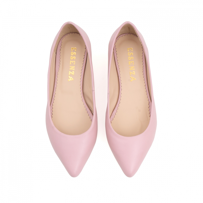 Balerini cu varf ascutit, din piele naturala roz 2