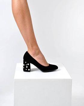 Pantofi cu perle, din piele intoarsa neagra 0