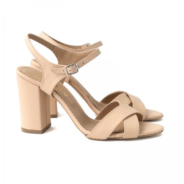 Sandale din piele naturala nude, cu toc patrat 1