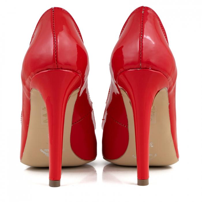 Pantofi Stiletto din piele lacuita rosie 4