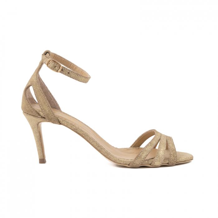 Sandale din piele glitter aurie 0