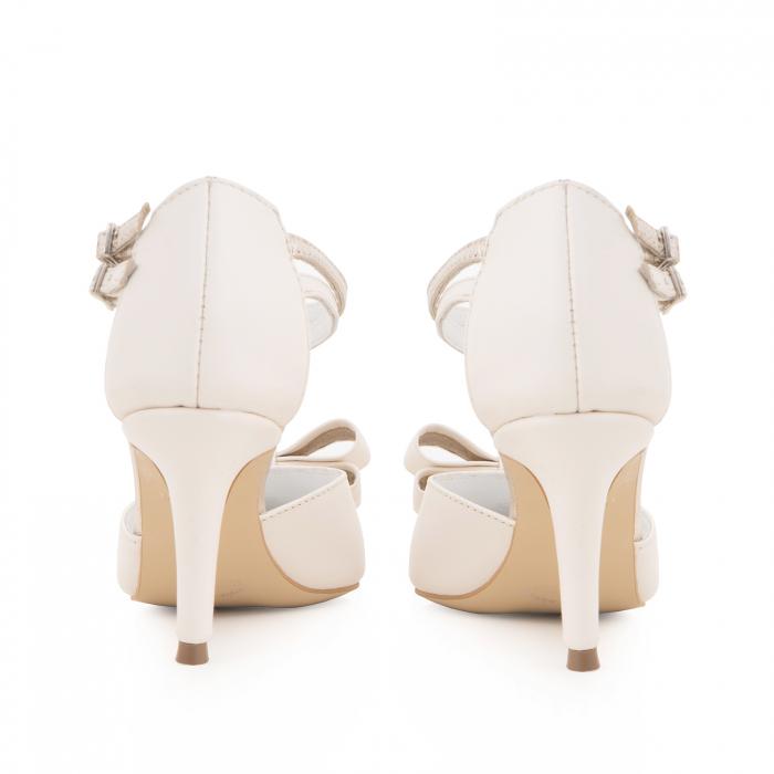 Pantofi stiletto cu funda dubla, din piele naturala alb unt si auriu pal 3