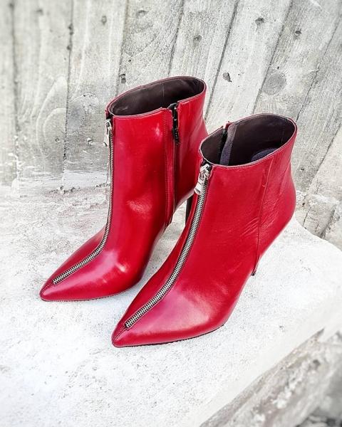 Botine Stiletto din piele rosie, cu fermoar metalic 0