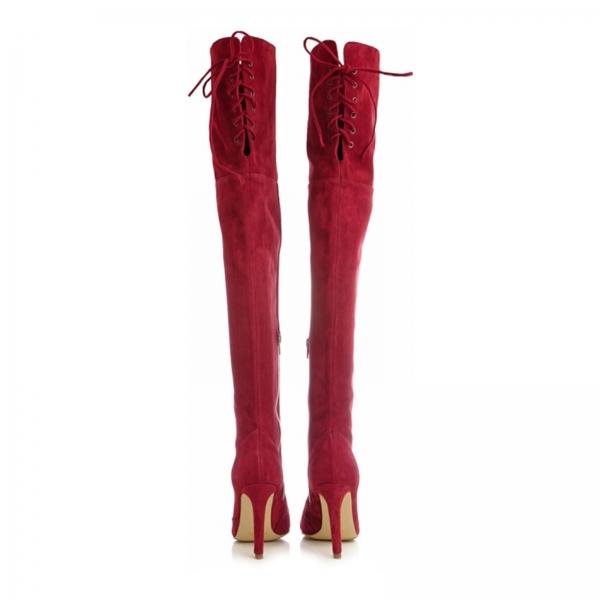 Cizme Stiletto peste genunchi,din piele intoarsa visinie 2