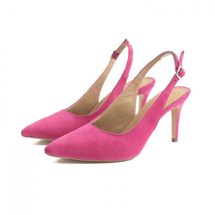 Pantofi decupati la spate, din piele intoarsa ciclam 1