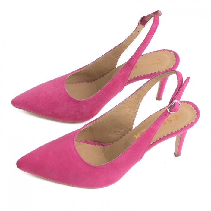 Pantofi decupati la spate, din piele intoarsa ciclam 2