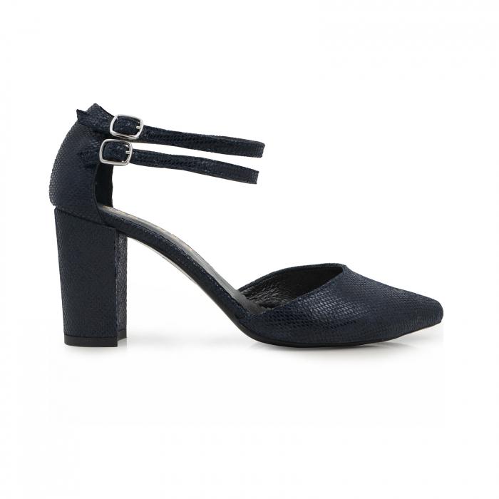 Pantofi decupati, cu barete duble, din piele naturala bleomarin cu textura 0