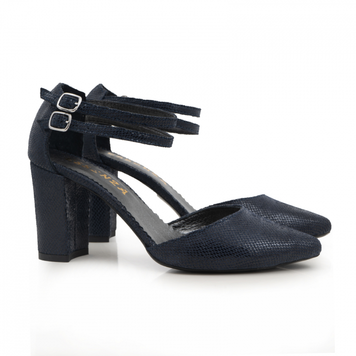 Pantofi decupati, cu barete duble, din piele naturala bleomarin cu textura 1