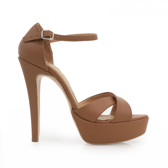 Sandale din piele naturala maron, cu toc de 14cm si platforma de 3cm 0