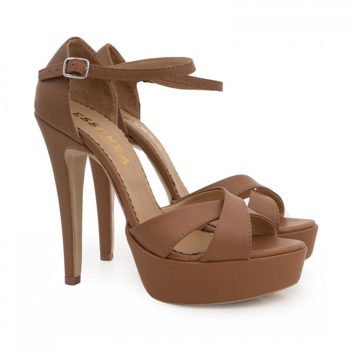 Sandale din piele naturala maron, cu toc de 14cm si platforma de 3cm 2