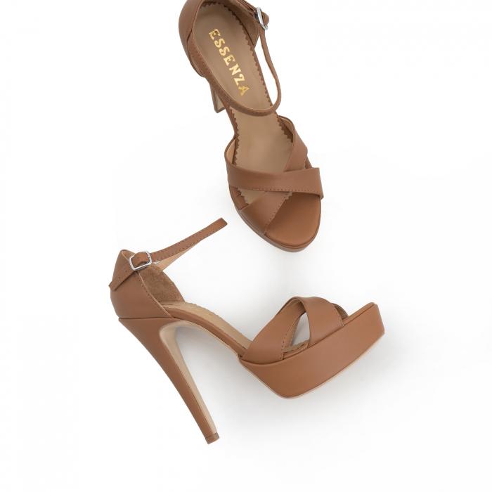 Sandale din piele naturala maron, cu toc de 14cm si platforma de 3cm 1
