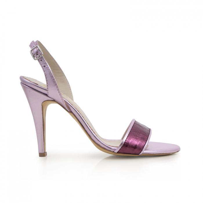 Sandale din piele naturala metalizata rose si visinie 0