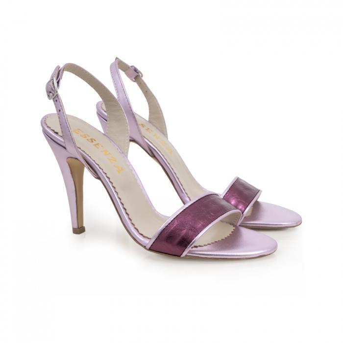 Sandale din piele naturala metalizata rose si visinie 1