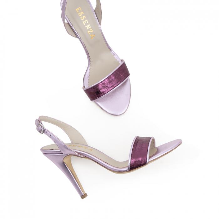Sandale din piele naturala metalizata rose si visinie 2