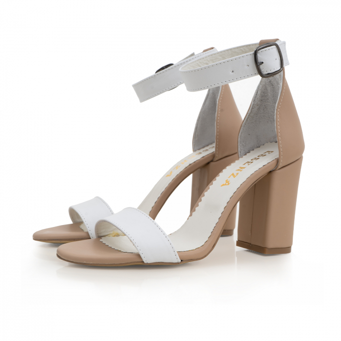 Sandale cu toc gros, din piele naturala bej si alba 1