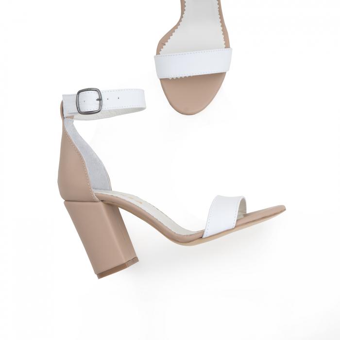 Sandale cu toc gros, din piele naturala bej si alba 3