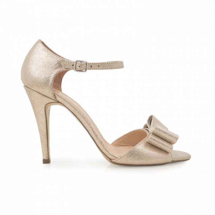 Sandale cu funde duble, din piele naturala aurie 0