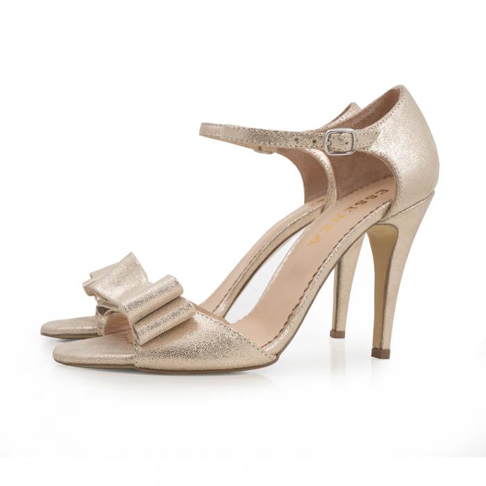 Sandale cu funde duble, din piele naturala aurie 1