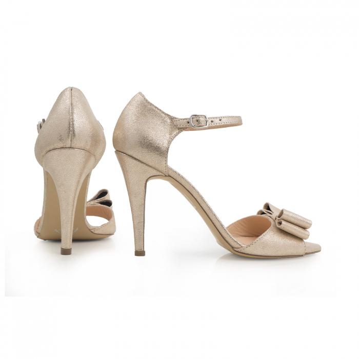 Sandale cu funde duble, din piele naturala aurie 3