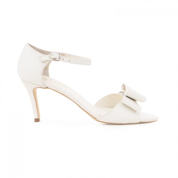 Sandale din piele naturala alb unt, cu funda dubla [0]