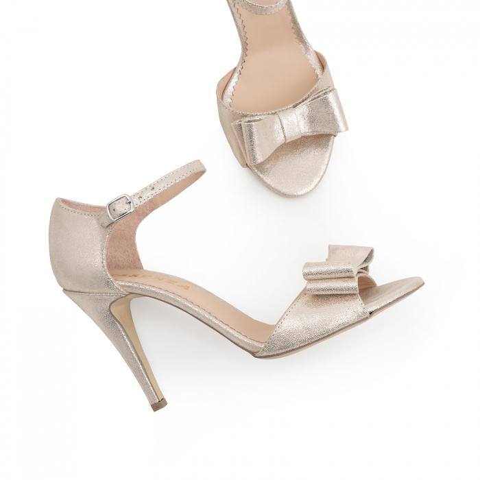 Sandale cu funde duble, din piele naturala aurie 2