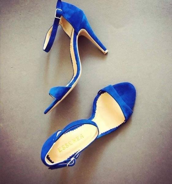 Sandale din piele intoarsa albastru intens 0
