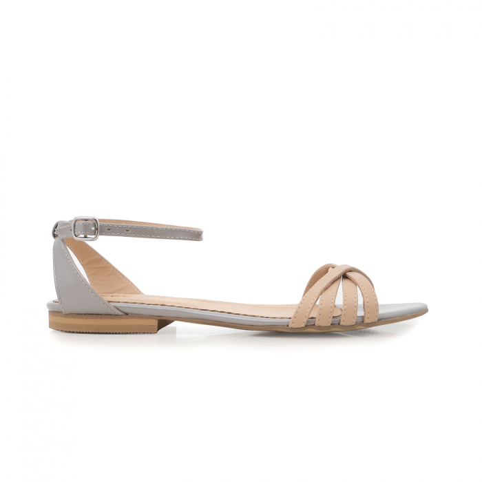 Sandale cu talpa joasa, din piele naturala aurie si bej 0