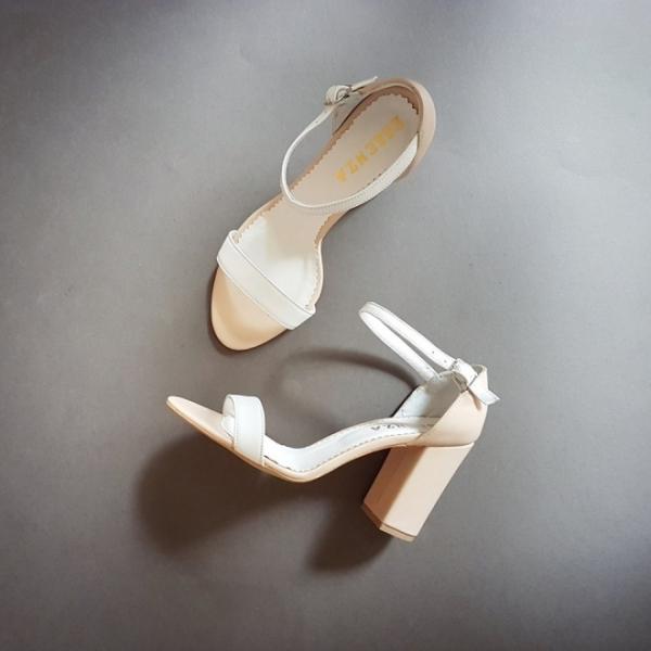 Sandale din piele nude si alba [0]