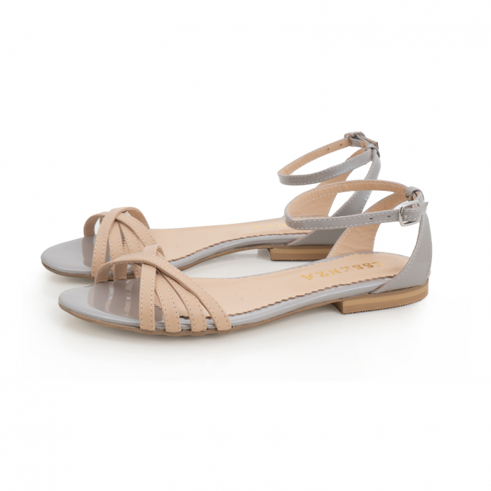 Sandale cu talpa joasa, din piele naturala aurie si bej 1