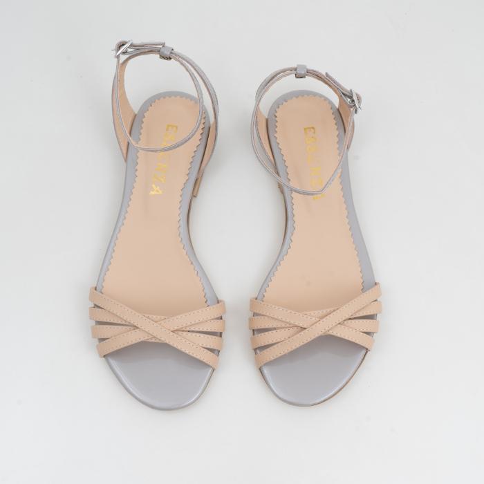 Sandale cu talpa joasa, din piele naturala aurie si bej 2