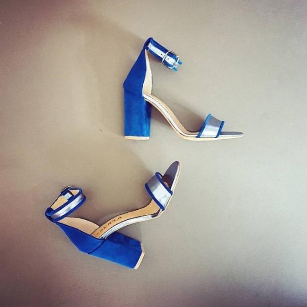 Sandale cu toc gros, albastru si argintiu [0]