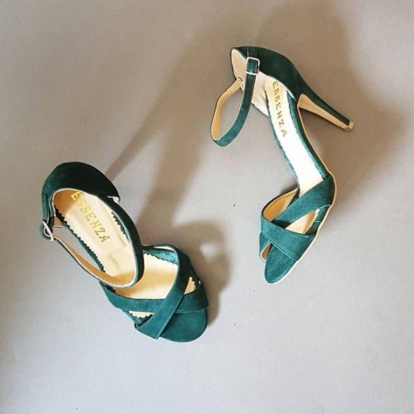 Sandale din piele intoarsa verde 0