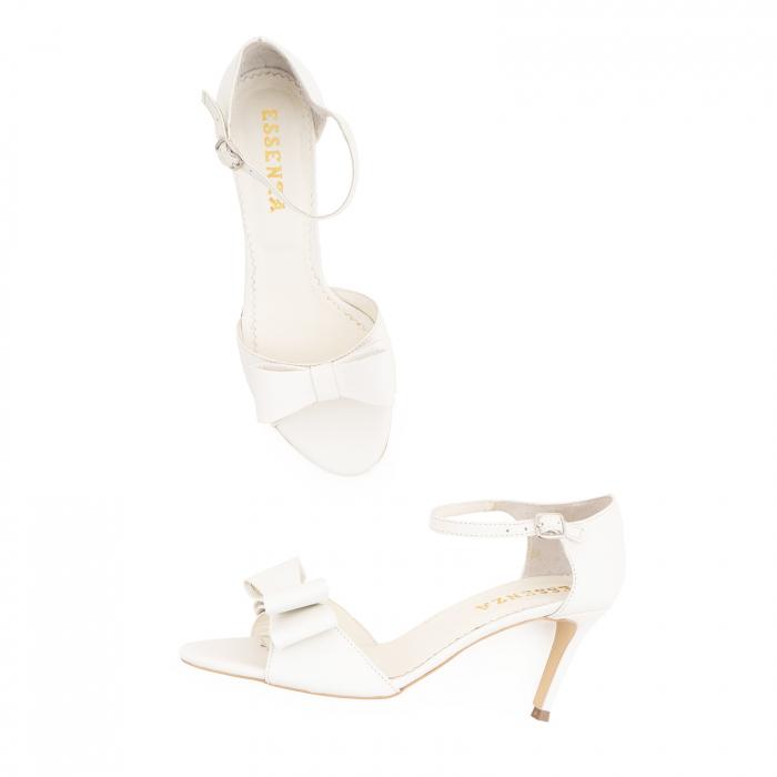 Sandale din piele naturala alb unt, cu funda dubla [2]