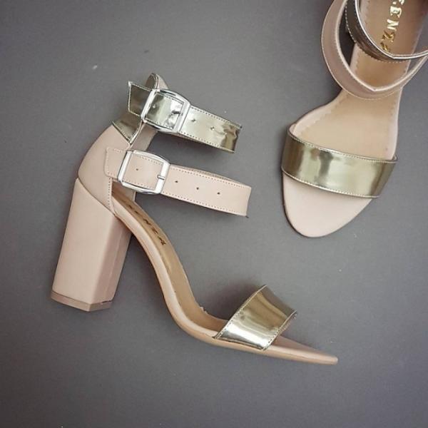 Sandale cu toc gros, nude si auriu 0