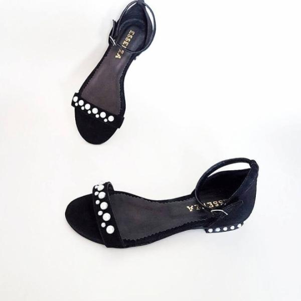 Sandale cu talpa joasa, din piele neagra si aplicatii din perle [0]