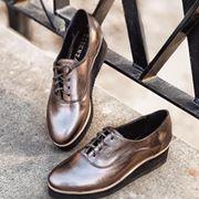 Pantofi oxford, din piele metalizata de nuanta bronzului, 0